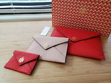 NWB Tory Burch Carter Envelope Clutch Trio Set Brilliant Red Pink Gift Bag