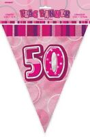 GLITZ PINK FLAG BANNER 50TH BIRTHDAY 3.6M/12' BIRTHDAY PARTY DECORATION