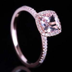 CUSHION CUT MORGANITE PAVE DIAMOND SOLID 14K ROSE GOLD ENGAGEMENT RING