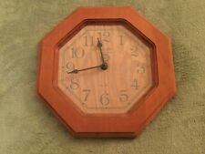 Vintage Elgin Wood Wall Clock Accurate Time Country Blue Numbers