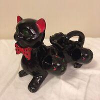 Vintage MCM Redware Pottery Black Cat Sake Set Decanter w/ 4 Cups Halloween FS!