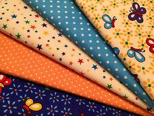 Fat Quarters faisceaux STOCK CLEARANCE Craft Sewing Bunting papillon étoile fleurs