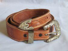 Vintage Sterling Silver SUNSET TRAILS Belt Buckle 3 Piece Set and Tooled Belt