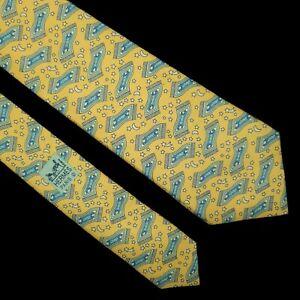 HERMES Paris Men's Tie 7483 IA Yellow Magic Carpet Aladdin 100% Silk France