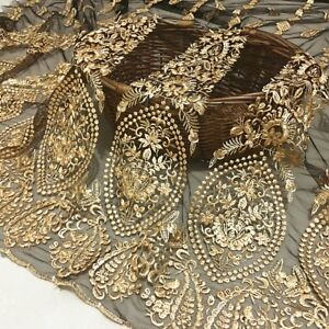 Lace Fabric Black Tulle Gold Retro Flower Embroidery Wedding Dress Fabric 51""