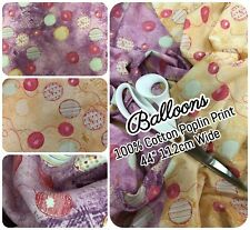 "100% COTTON CRAFT POPLIN PRINT - BALLOONS LILAC YELLOW - 112cm 44"" WIDE"