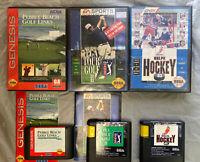 Sega Genesis BUNDLE/LOT PEBBLE BEACH GOLF LINKS + PGA Tour Golf 2 + NHLPA HOCKEY