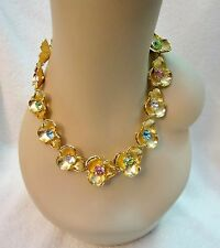 New Kenneth Jay Lane Gold Flower Necklace Crystal Multi-Color Statement Signed