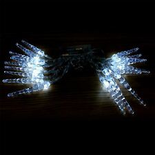20 WHITE LED BATTERY OPRATED ICICLE FAIRY STRING LIGHTS CHRISTMAS DECORATION