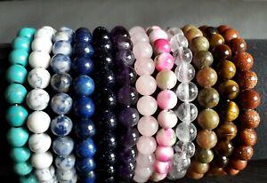 Armband Edelstein Amethyst Bergkristall Lapis Rosenquarz Tigerauge 8mm Perlen