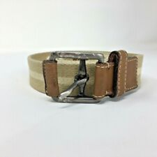 Coach Mens Woven Linen and Leather Belt Tan and Ivory Stripe Size 40