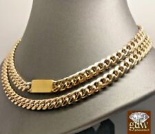 Men's 10k Yellow Gold Customize BOX LOCk Miami Cuban Chain 32 Inches,Rope,Franco