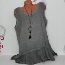 Damen Sommer T-Shirt Shirt Top Tunika A-Form Zipfel Leinen 44 46 Italy