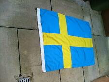 More details for vintage old stamped sweden swedish stitched linen / cotton flag 5 ft x 3 ft