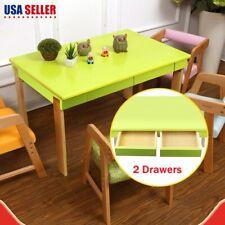 Folding Kids Pine Table Furniture Activity Play Storage Study Desk W/2 Drawers