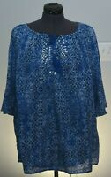 Catherines Womens 1X Blue & Whi Loose Fit Peasant Blouse 18W 20W Petite Plus Top