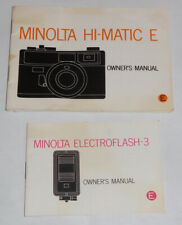 Original Minolta Hi-Matic E Owner's Manual & Flash Manual. FREE SHIPPING.