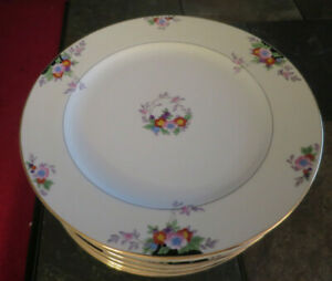 Meito Japan Hand Painted Floral Gold Trim Blue Pink China Dinner Plate Lot of 5