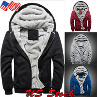 Men's Winter Warm Casual Jacket Coat Jacket Fleece Thick Hooded Zipper Outwear