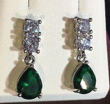 SPD 22mm x 7mm Sim Diamonds Green Emerald White Gold Drop Dangle Plum UK BOXED