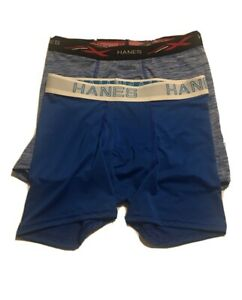 Mixed Lot of 2 Boys Hanes X-Temp Boxers Size Large Blue/White