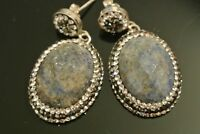 Turkish 4 Ct Sparkle Lapis Lazuli 925 Sterling Silver Modern Druzy Earrings