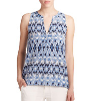 NWT- Joie Aruna Ikat Printed Silk Sleeveless Top, Dark Navy Blue - Size XSmall
