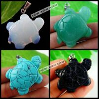 1PCS Wholesale Carved Turtle Mixed Gemstone Pendant Beads for Jewelry Making