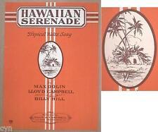 RARE OLD HAWAIIAN SHEET MUSIC HAWAIIAN SERENADE UNUSED VINTAGE 1925 UNUSED