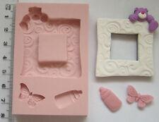 Stampo IN SILICONE ORSACCHIOTTO CORNICE FARFALLA Baby Shower Battesimo CUPCAKE GLASSA
