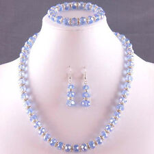 "NEW 8X10MM Light blue Crystal Faceted Beads Necklace+ Bracelet +Earrings 18""7.5"""