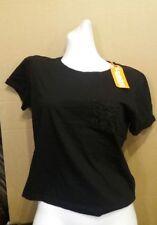superdry ladies lace pocket crop tee size XSmall (uk 8) black