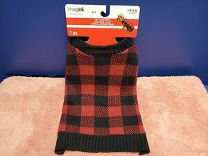 Imagin8 Christmas Dog Costume. Red & Black Plaid Winter Dog Sweater Sz Small