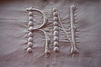 Drap 27 ancien fil de lin et lin monogrammé  RN 225 x 350 cm dentelle crochet