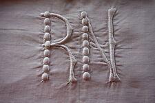 Drap 27 ancien enfil de  lin monogrammé blanc RN 225 x 350 cm dentelle crochet