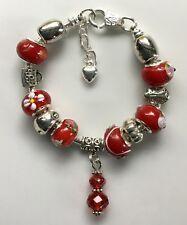 Bracciale Catena Serpente piuttosto Europeo Marano perle di vetro 19 cm Rosso con Scatola Regalo