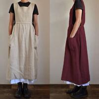ZANZEA Women Summer Sleeveless Midi Sundress Plus Size Cotton Bib Pinafore Dress