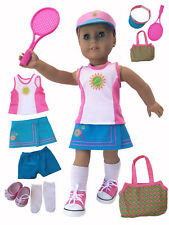 """MangoPeaches 18"""" DOLL TENNIS OUtFIT - FITS AMERICAN GIRL DOLL- 8 PC DELUXE Set"""