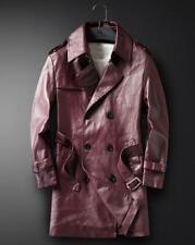 New Men Double breasted leather jacket casual trench coat lapel outwear belt VIC