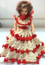 """Vintage 7"""" Duchess Doll Corp. Design Hard Plastic Doll, Crocheted Clothes, 1948"""