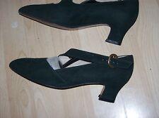 """Bally tacón para mujer Ante Verde 1.8"""" Court Shoe Size UK 5.5, usado en muy buena condición"""