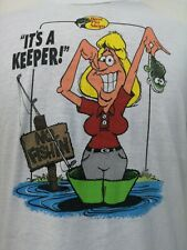 """Vintage Bass Pro Shops """"It's A Keeper"""" Funny Silly T-Shirt Graphic Tee"""