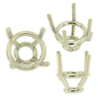 14K White Gold Tapered Round Wire Basket Setting Mounting 4 Prong 0.05ct-3.25ct