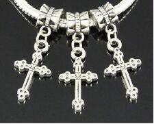 30pcs Tibetan Silver Cross Dangle Charms Fit European Bracelet ZY55
