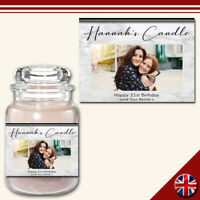 C3 Personalised Custom Photo Candle Jar Label Birthday Great Gift Any Occasion!