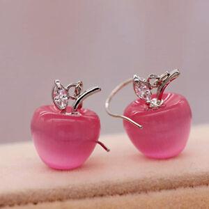Women Apple Earrings Female Temperament Silver Plated Earrings Charm Jewelry BT