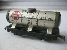 "Vintage Marx Tin Tanker Car ""Santa Fe"" "" Middle States Oil"""