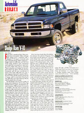 1995 Dodge Ram V-10 Truck Original Car Review Print Article J511