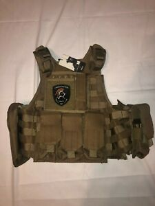 Lancer Tactical Tan Adjustable Airsoft Vest w/ Patch & Tag