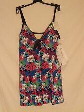 NWT A Shore Fit designer one piece swimsuit size 18W tie front swim dress